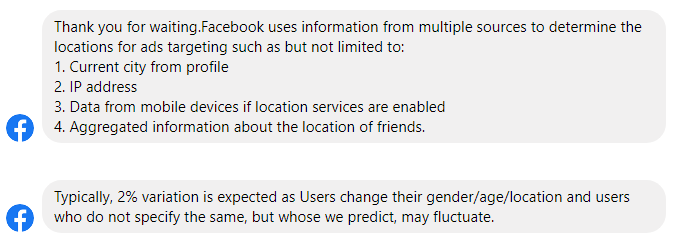 The response from Facebook Support