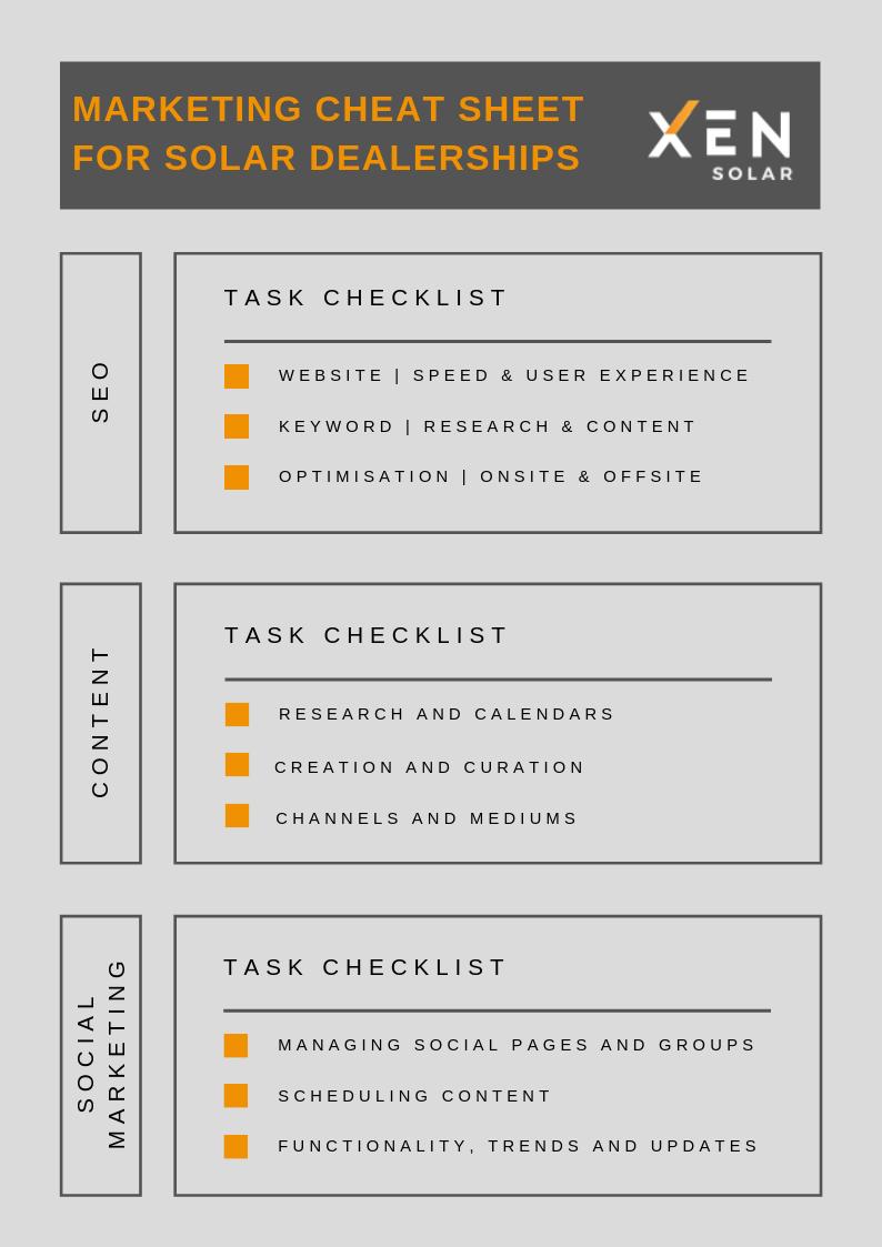 marketing cheatsheet for solar dealerships