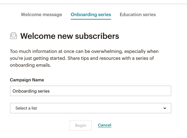 MailChimp Onboarding Series